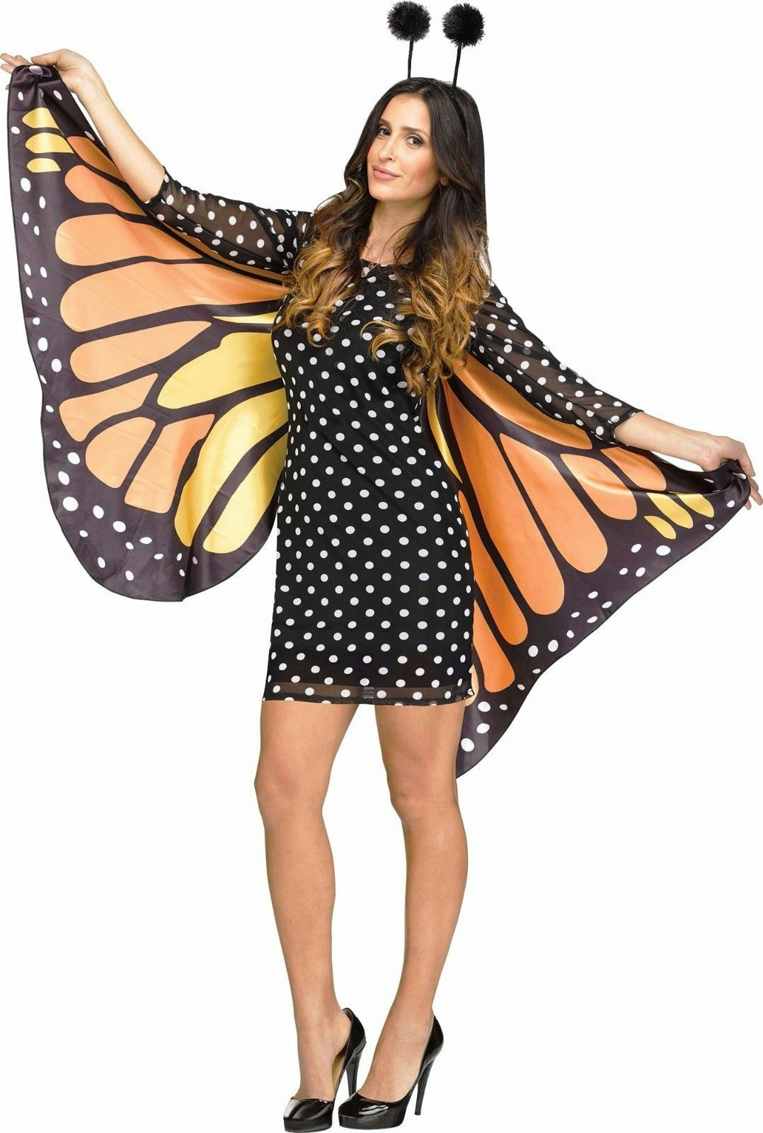 021433b6ab1 Details about Fun World Women's Fluttery Monarch Butterfly Adult Costume  M/L 10-14
