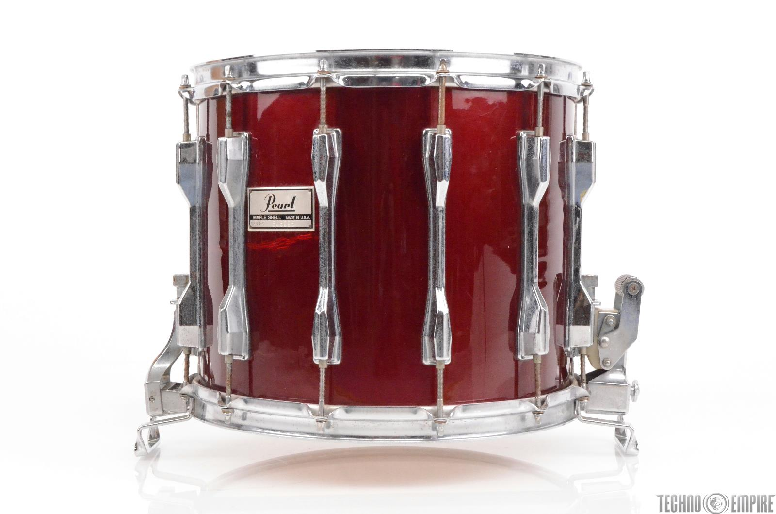 Pearl USA 14x12 Maple Marching Snare Drum Made in America Dark Red Wrap #29706
