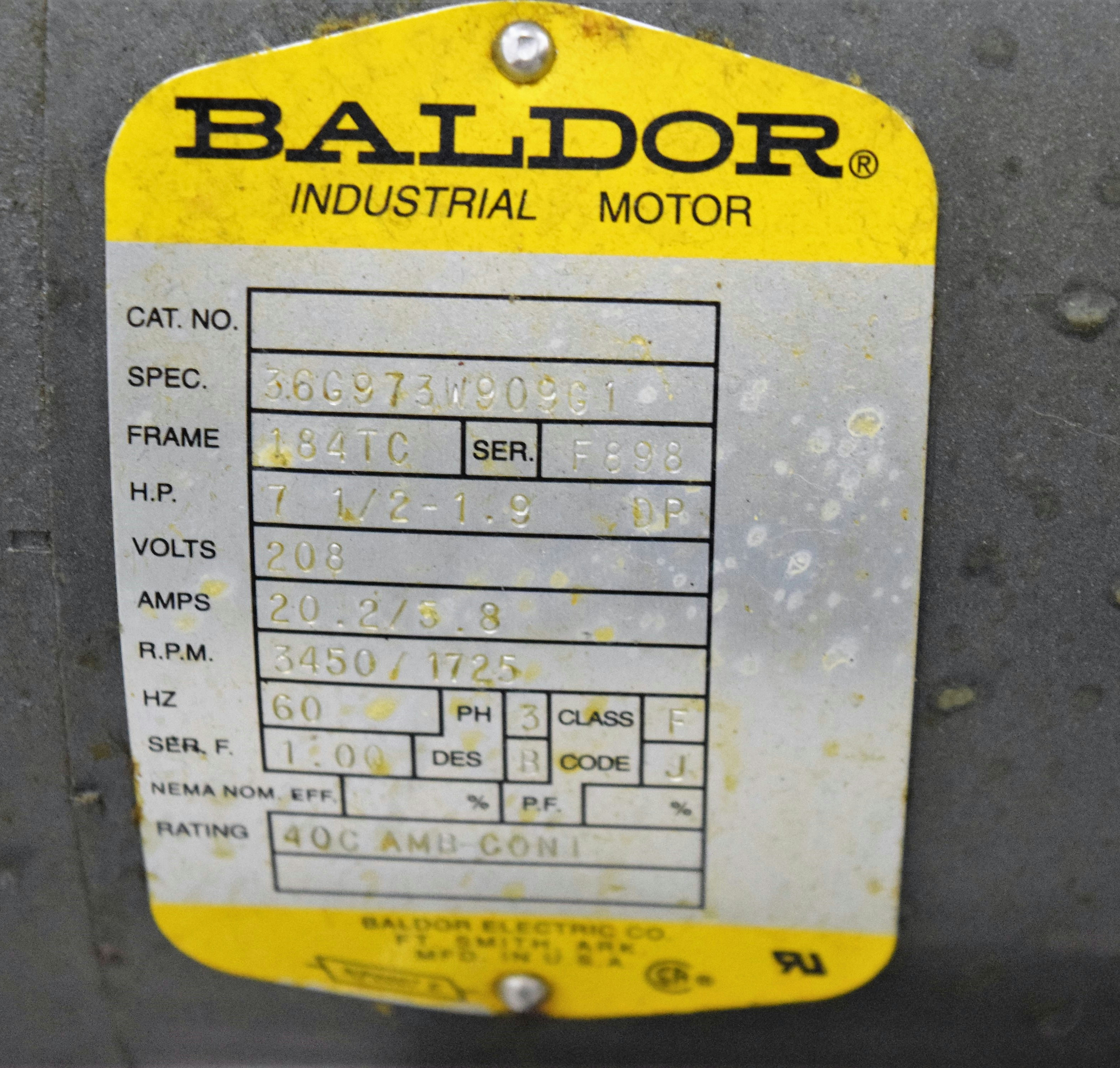 wiring diagram baldor 2 hp single phase motor    baldor    3    phase    industrial    motor    184tc  3450 rpm  1725     baldor    3    phase    industrial    motor    184tc  3450 rpm  1725