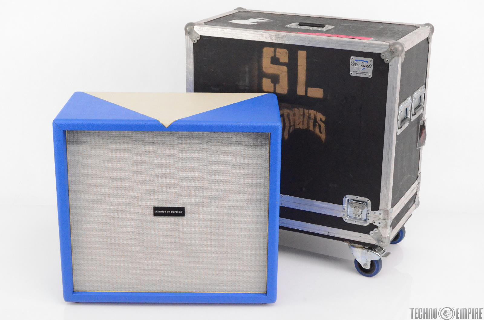 Divided By 13 4x10 Bass Cabinet Custom White/Blue Tolex w/ ATA Road Case #29825