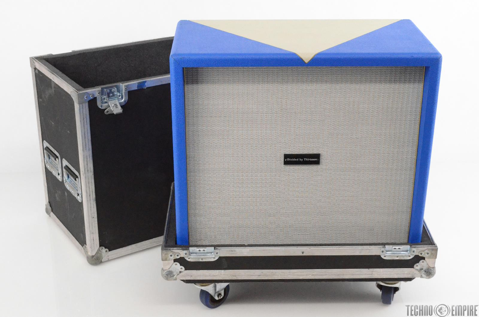 Divided By 13 4x10 Bass Cabinet Custom White/Blue Tolex w/ ATA Road Case  #29824
