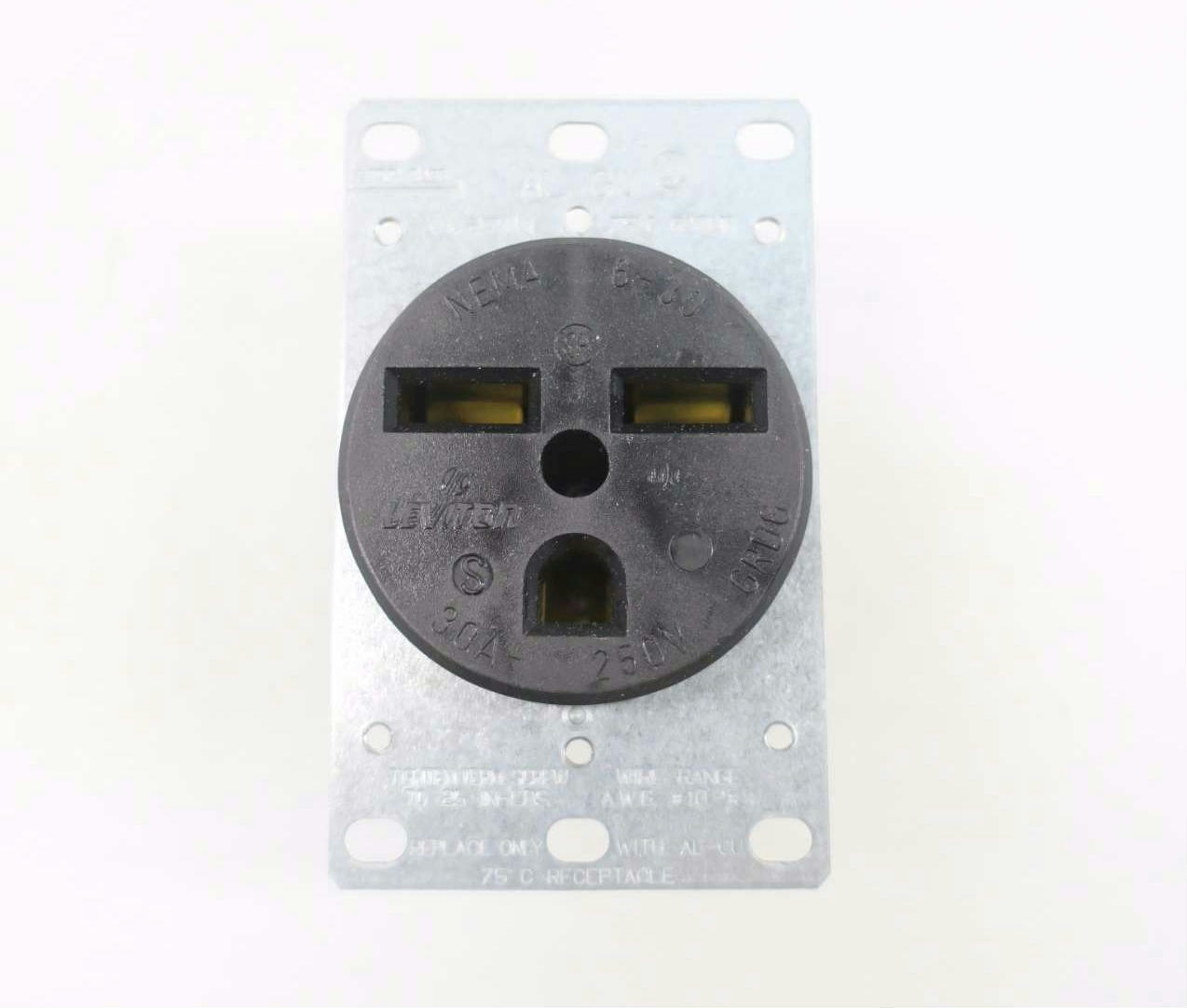 leviton 5372 nema 6 30r 30a 250v 2p 3w black receptacle instock901 rh instock901 com Leviton Wall Plates Leviton CS8264C