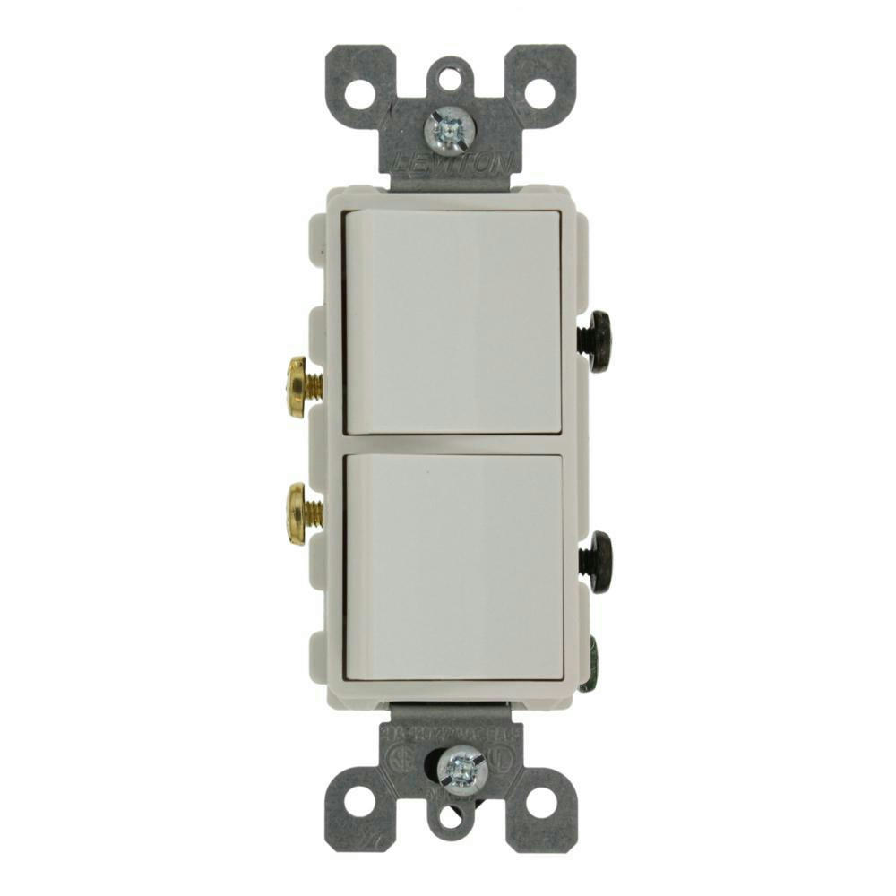 Leviton 5627-W Decora Single-Pole AC Combination Switch WHITE 20A ...