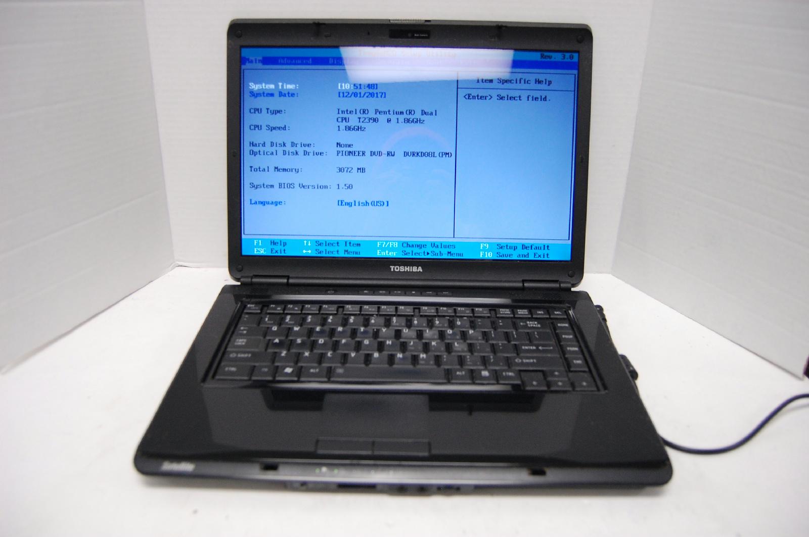 """Toshiba Satellite 15.5"""" Pentium Dual T2390 1.86 3GB RAM No HDD Parts/Repair"""