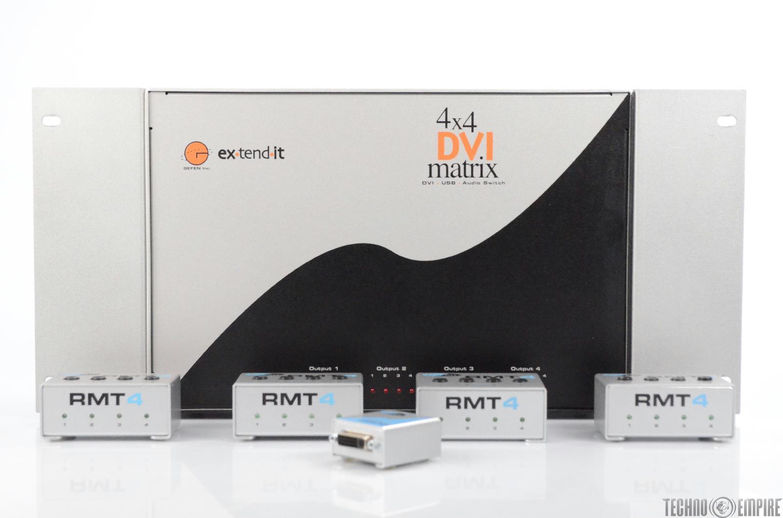 Gefen Ex-Tend-It 4x4 DVI Matrix USB Audio Switch Repeater w/ RMT4 & Xtras #30795
