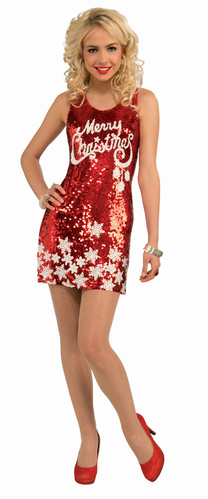 Details about Women\'s Plus Size Racy Red Sequin Merry Christmas Party  Costume Dress XL 16-22