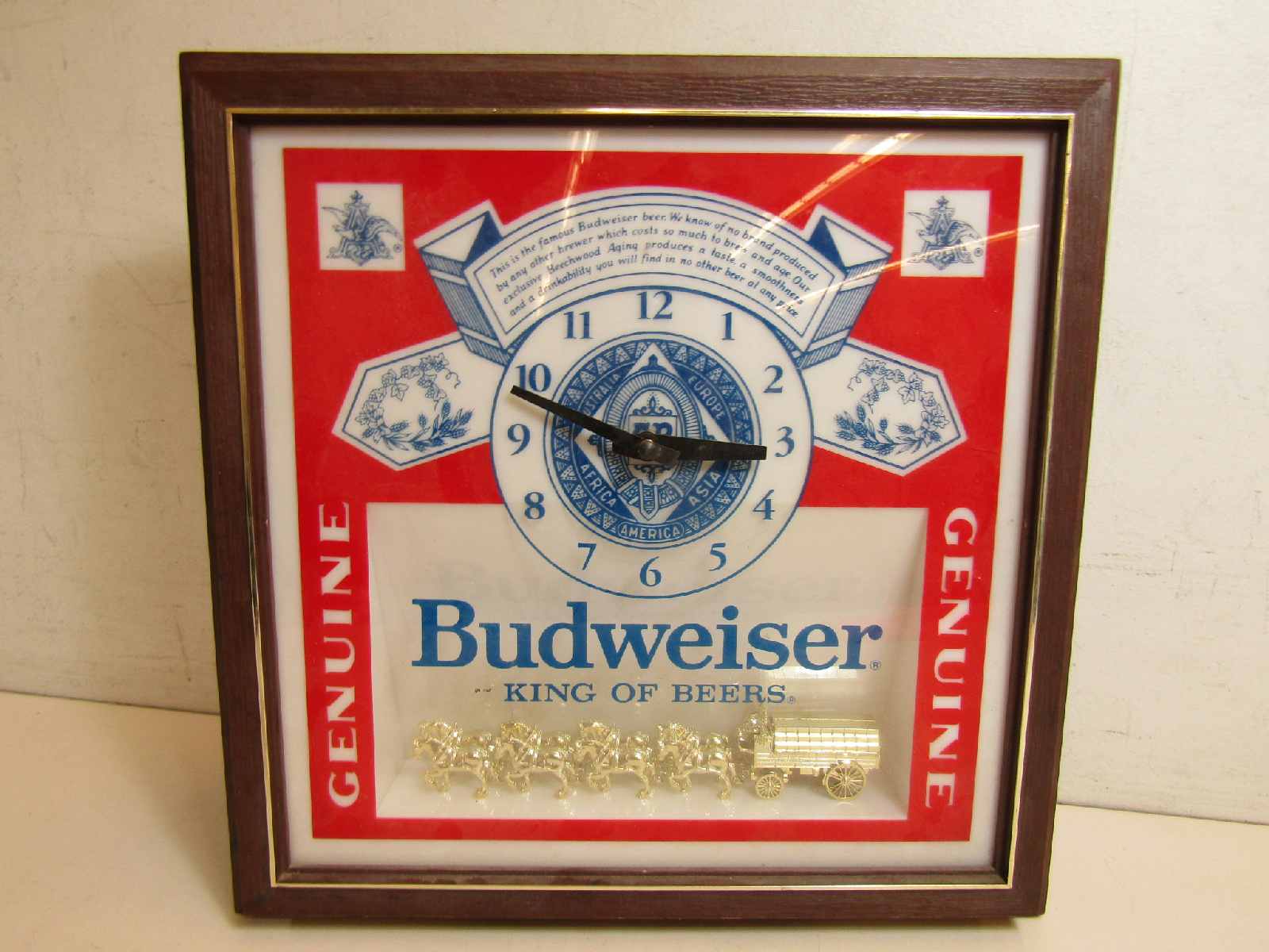 Vintage 60s-70s Budweiser Beer Clydesdale Lighted Wall Clock | eBay
