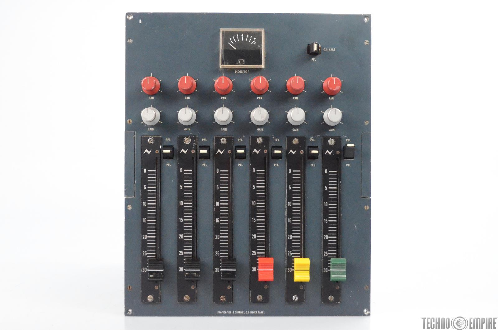 1979 Vintage Neve PA6/100/102 Sidecar 6x2 Channel Mixer Panel BBC #31026