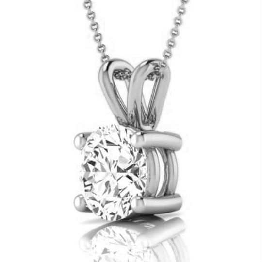 Diamond pendant solitaire 1 carat d si1 round 14k white gold on the diamond your satisfaction is our priority dont miss out on this one this ring is absolutely perfect for an engagement or any other occasion aloadofball Images