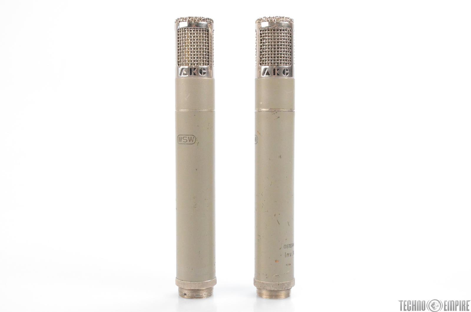 2 AKG C28A Tube Condenser Microphones Mics w/ Cases #30853