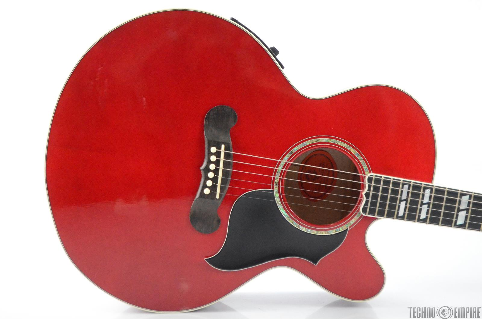 2005 Gibson J-185 EC Custom Acoustic Electric Guitar w/ Hard Case Red #31010