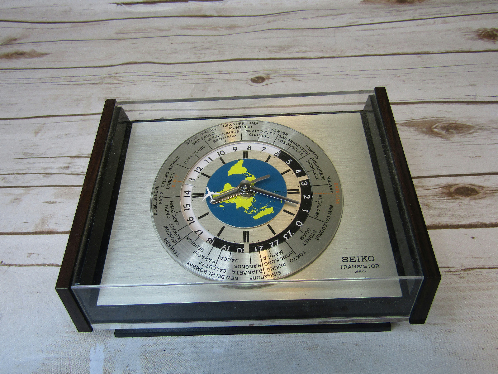 Seiko Transistor Airplane World Time Desk Clock Battery Powered Works