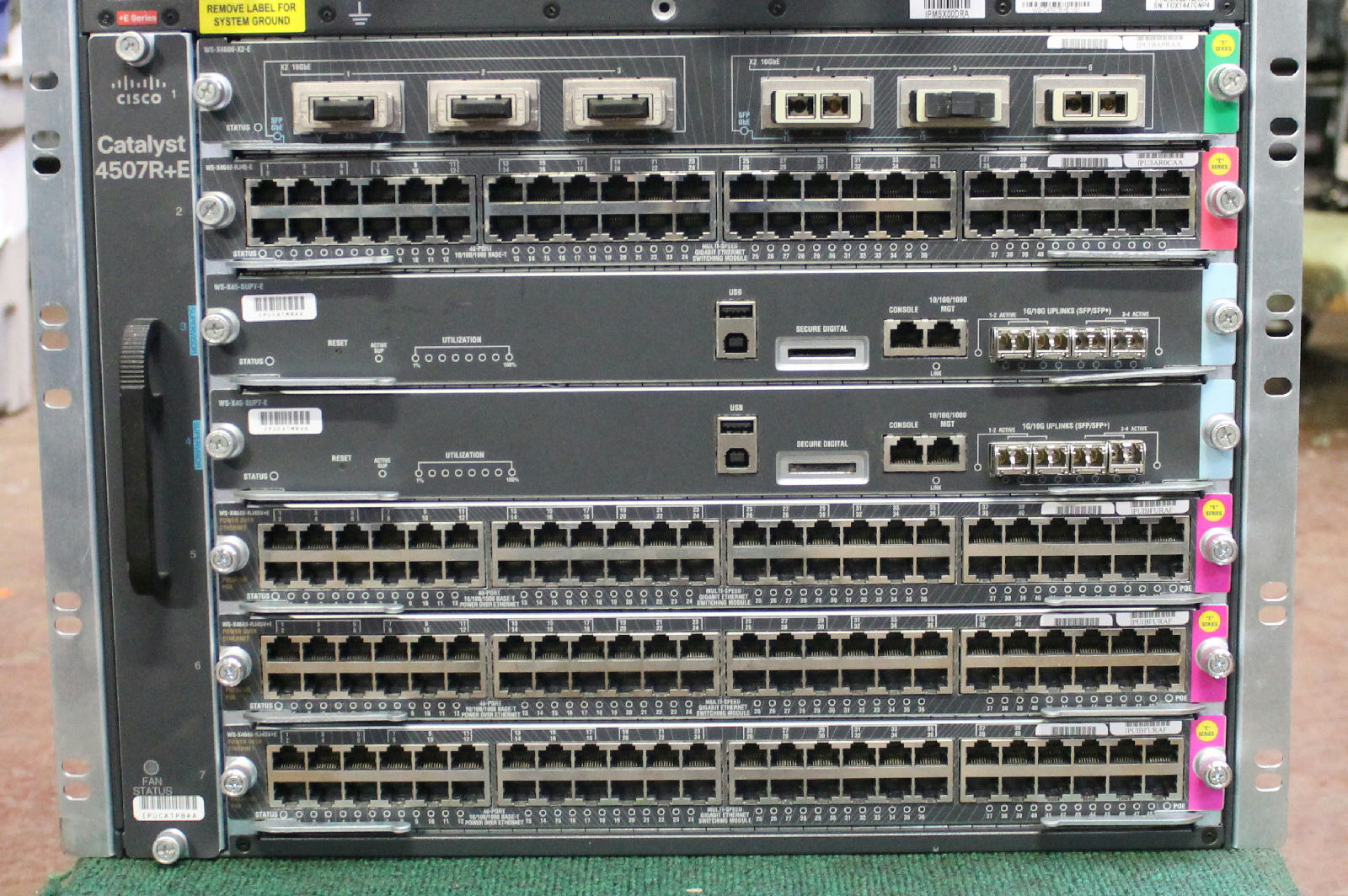 Cisco Catalyst WSC4507RE 7 Slot Chassis w 2x WSX45SUP7E 1x WS