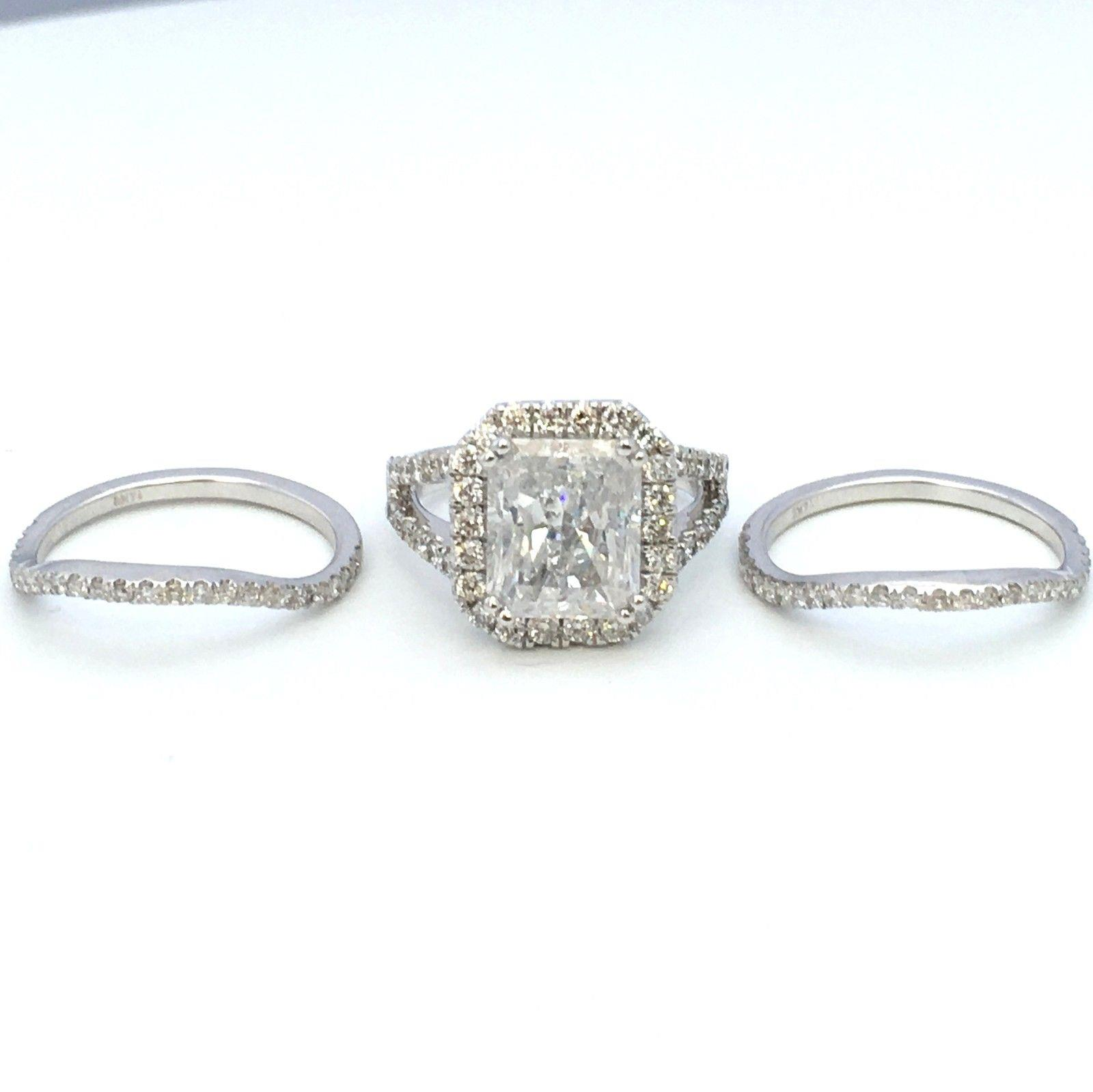 Halo Diamond Ring Vs1 D Colorless Flawless 5 Ct Accents Women 18 Kt White Gold