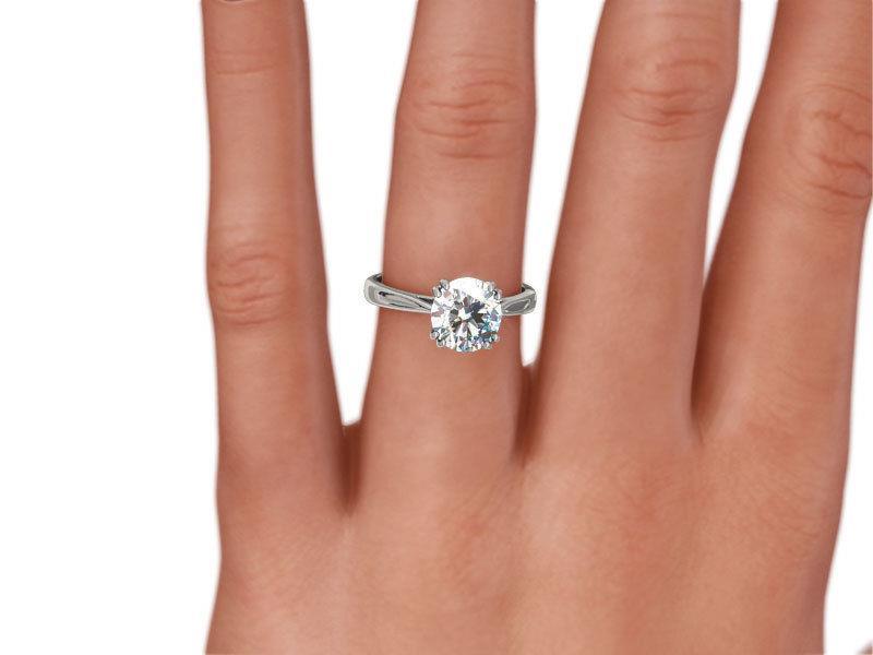 Certified 2 Carat Diamond Round Cut Ring Smooth 18k White Gold Si2 8 Prong Ebay