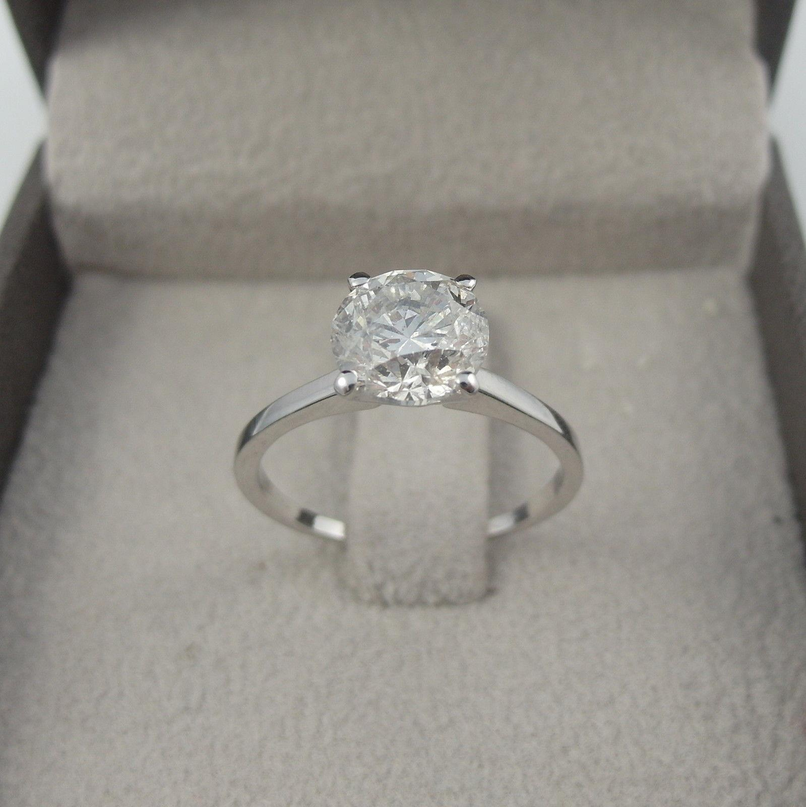Vs1 Round Brilliant Diamond Ring 4 Carats Colorless Flawless 18k White Gold