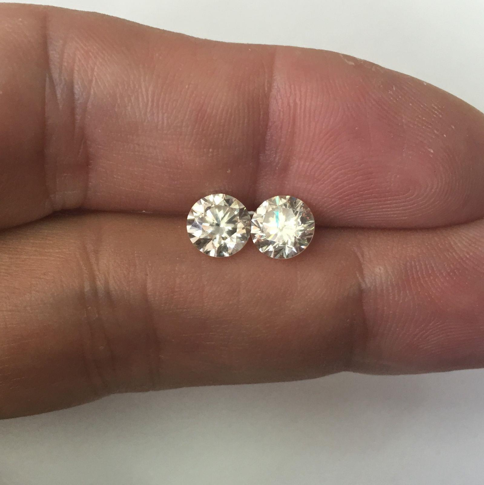 Stud Diamond Earrings D Vs2 3.42 Carat Round Ideal Solitaire 14 K White Gold Fine Jewelry Jewelry & Watches