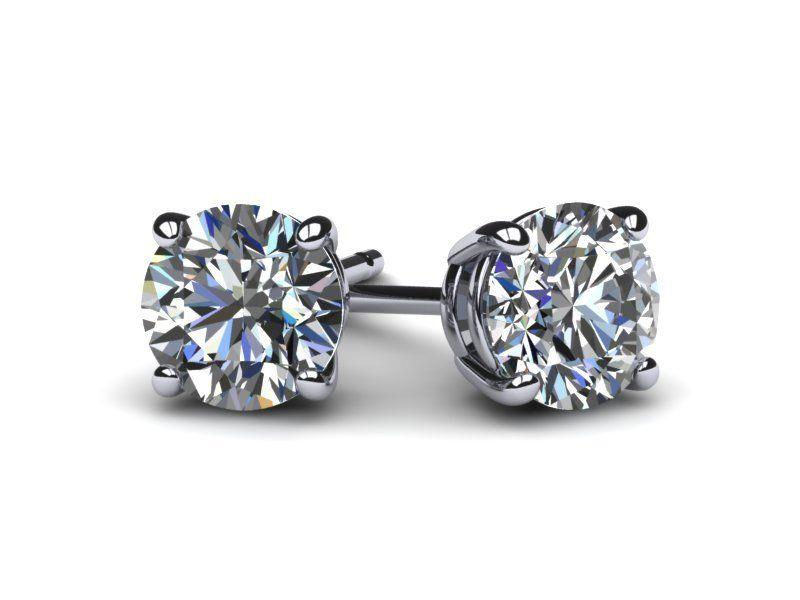 Stud Diamond Earrings D Vs2 3.42 Carat Round Ideal Solitaire 14 K White Gold Fine Earrings Jewelry & Watches