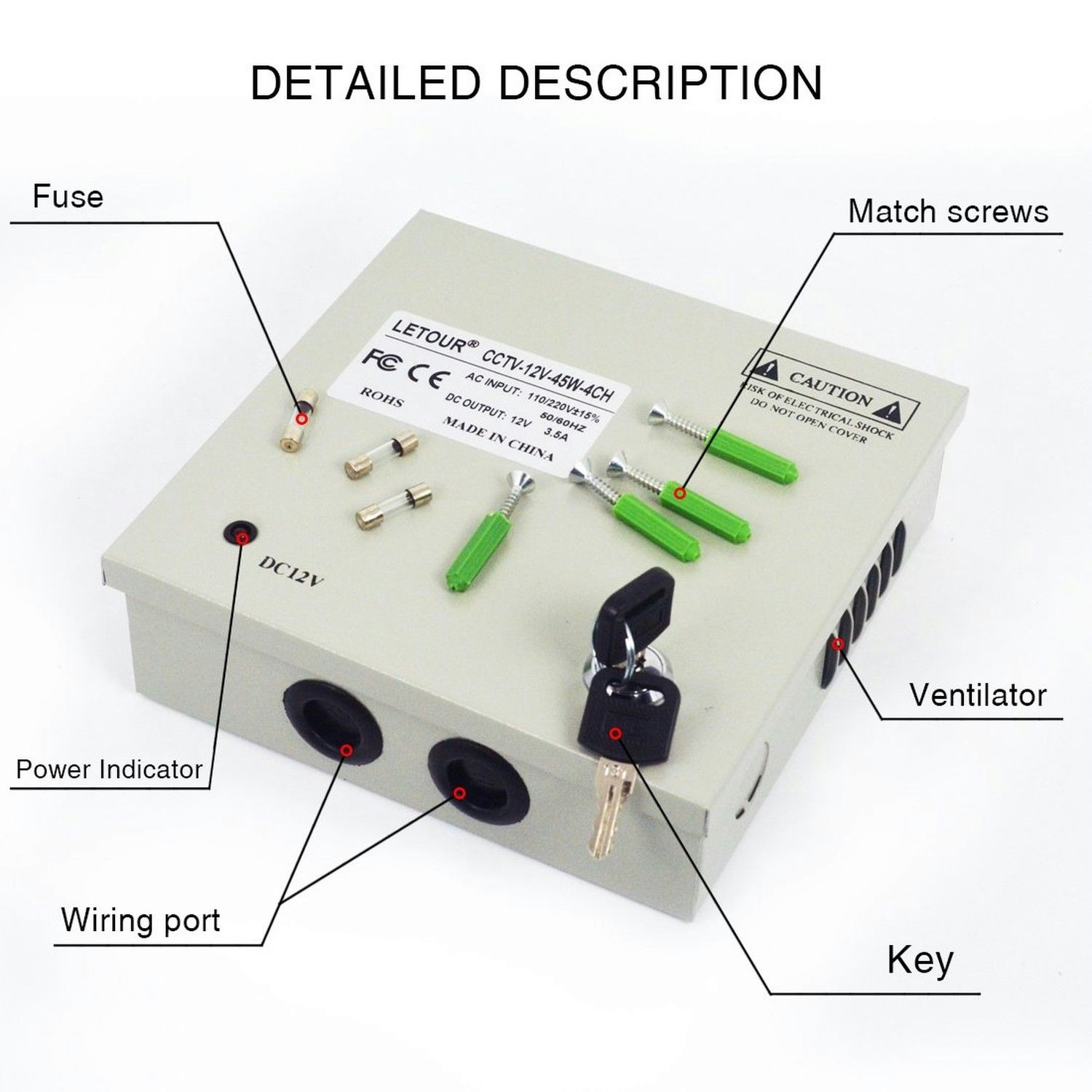 LETOUR Power Supply Box 4 Channels CCTV Box Security Camera (4CH 3.5A 45W)
