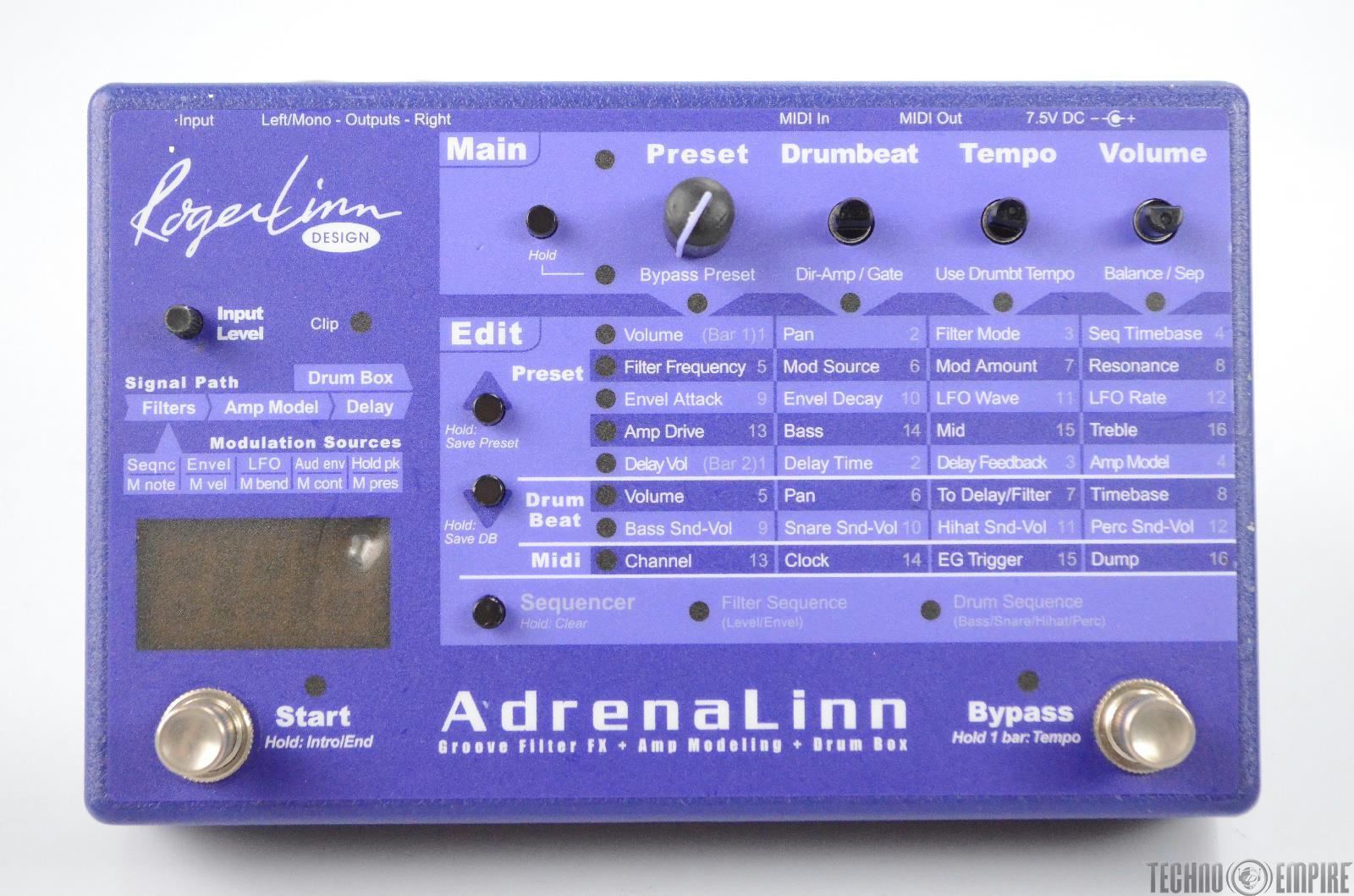 Roger Linn Design Adrenalinn I Multi-Effect Amp Modeling & Drum Box Pedal #31420