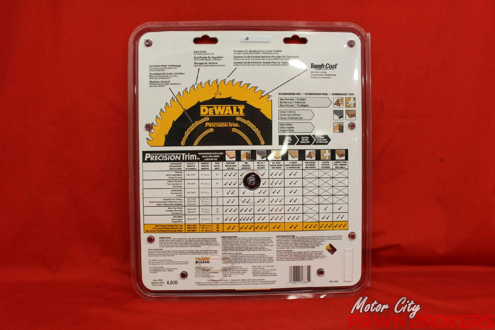 Dewalt Precision Trim Dw7296pt 12 Diameter 96 Tooth