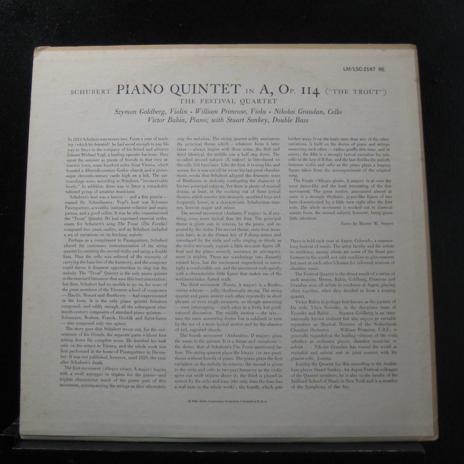 Schubert Amp Stuart Sankey Trout Quintet Lp Mint Lm 2147