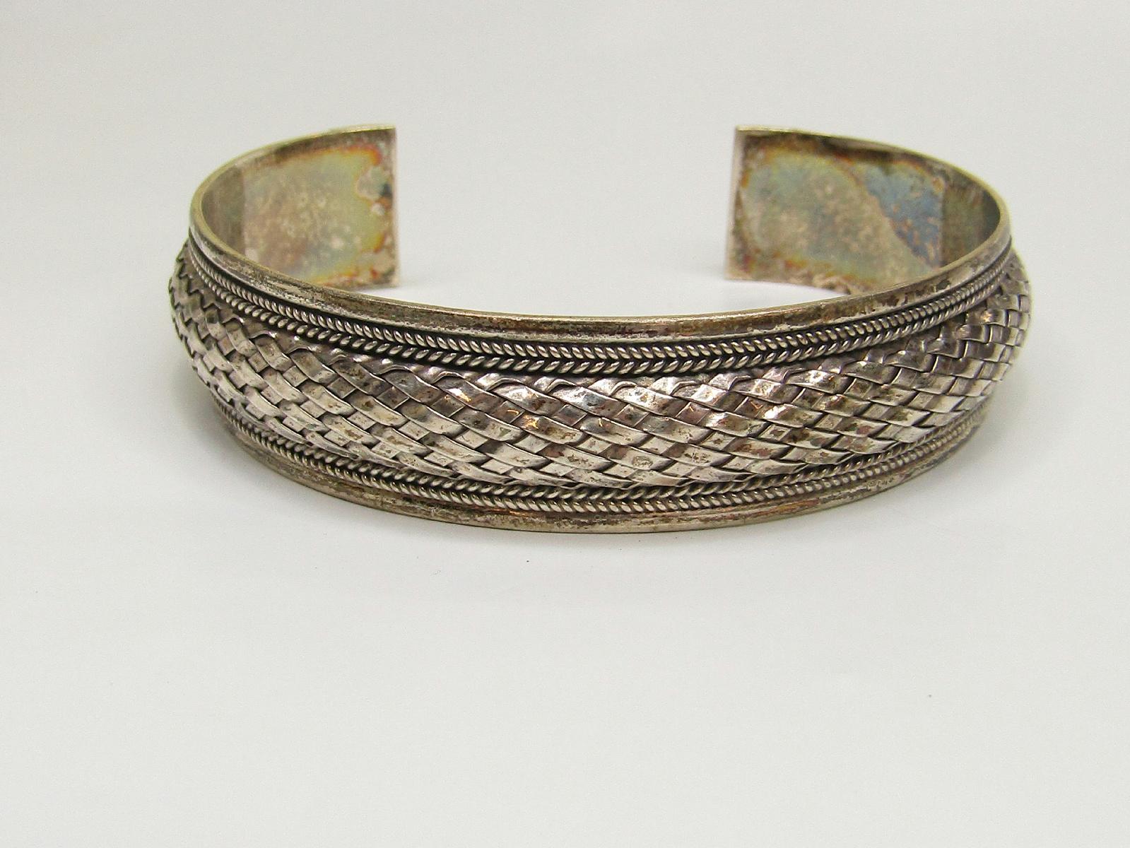 Basket Weaving Jewelry : Fas signed sterling silver jewelry cuff bracelet basket