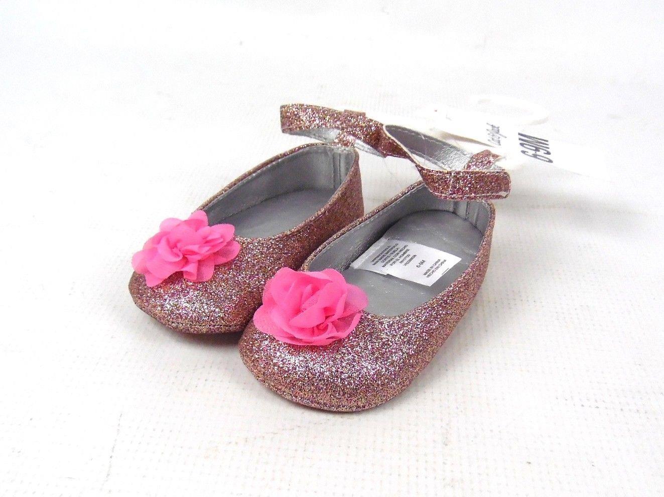 New Cat Jack Toddler Girls Pink Glitter Flowers Ballerina Shoes