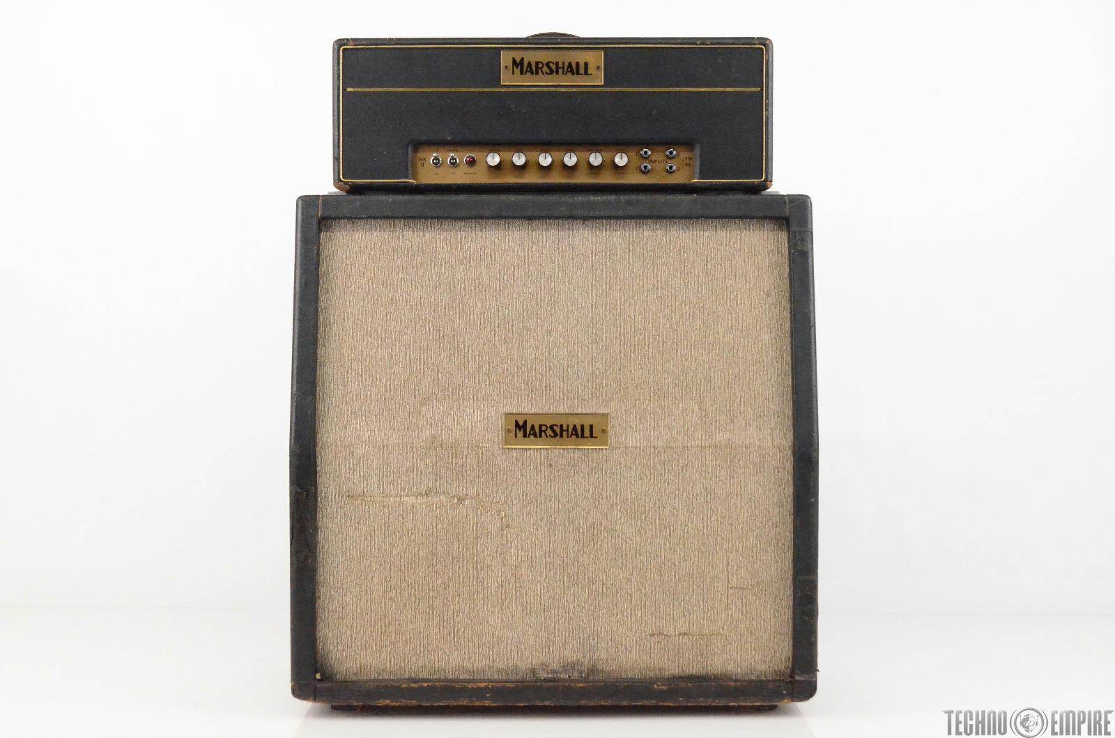 1965 Marshall JTM45 MKII Block Logo Head w/ 4x12 Slant Cabinet Half Stack #31770