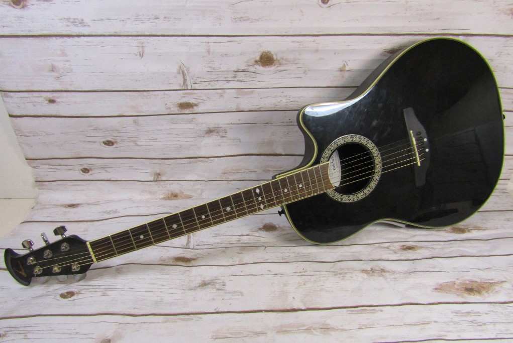 ovation celebrity acoustic electric guitar model cc057 black as is parts repair ebay. Black Bedroom Furniture Sets. Home Design Ideas