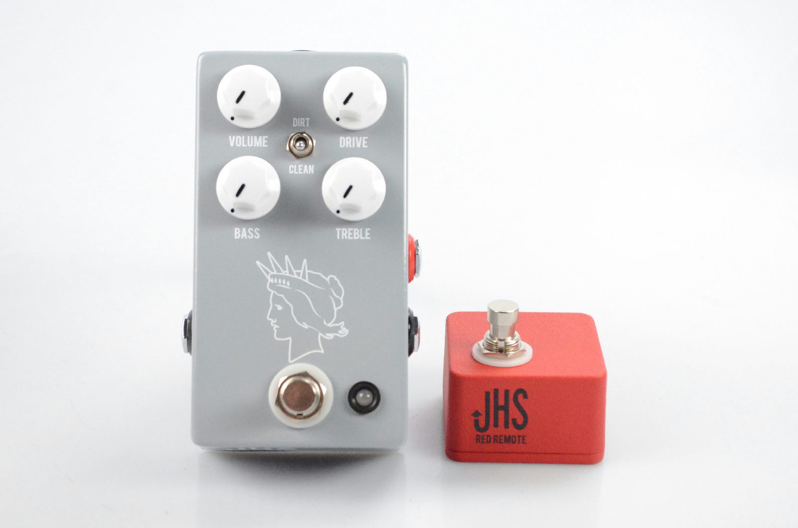 JHS Twin Twelve V2 Overdrive Boost Silvertone Pedal w/ Red Remote Switch #31790