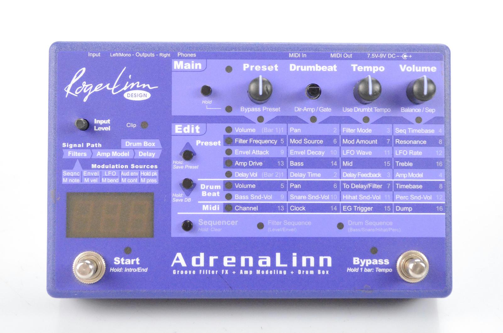 Roger Linn AdrenaLinn I Multi-Effect Amp Modeling & Drum Box Pedal w/ PSU #32175