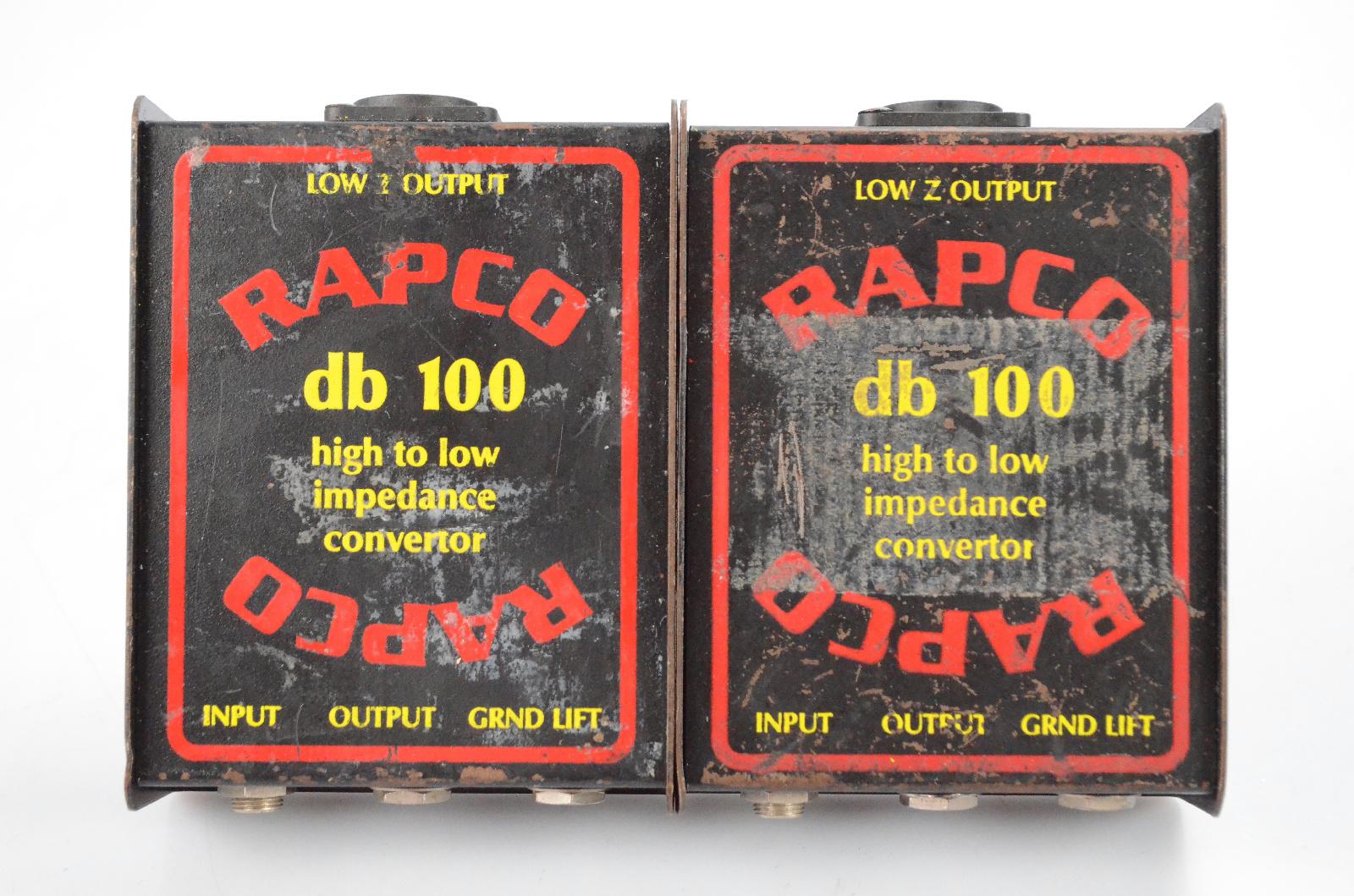 2 Rapco db 100 Hi-Z to Lo-Z Impedance Converter Passive Direct DI Boxes #32217