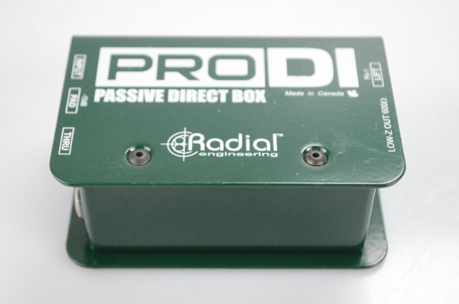 """Radial Pro DI Mono Passive Direct DI Box w/ XLR & 1/4"""" TS Audio Cables #32350"""