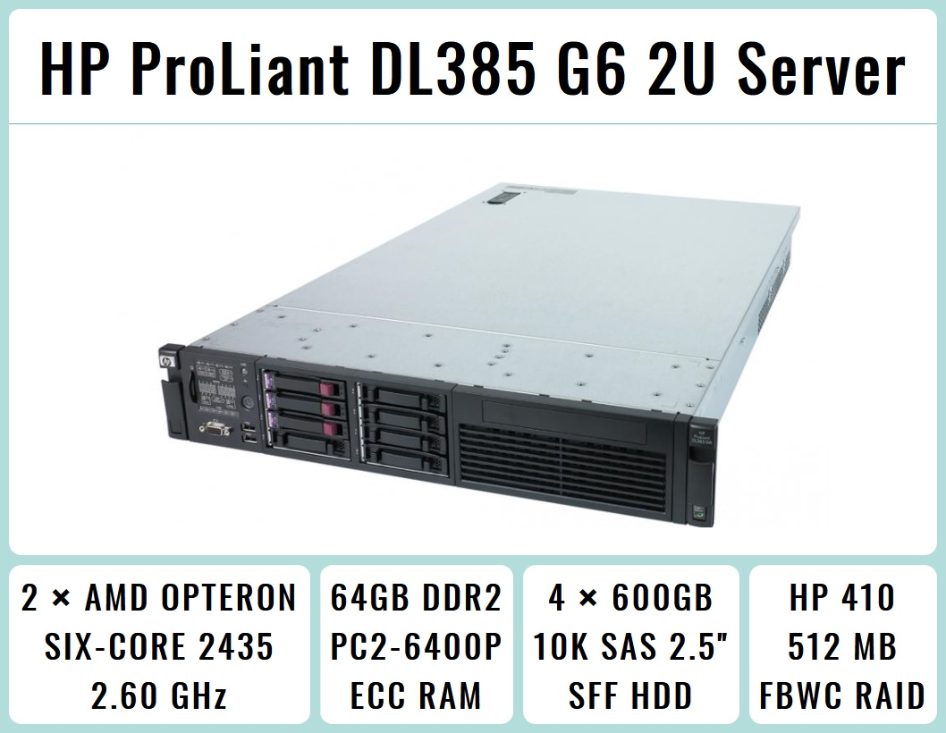 Hp Proliant Dl385 G6 2u Rackmount 64 Bit Server With 2x8 Core 2435 Ram Laptop Ddr2 2gb Pc2 6400 Asli Jepang 2six Opteron 26ghz 64gb