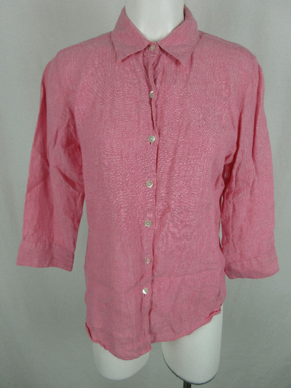 a64f3d2f9c L.L. Bean Women s sz M 100% Linen Long Sleeve Solid Pink Button Down Shirt