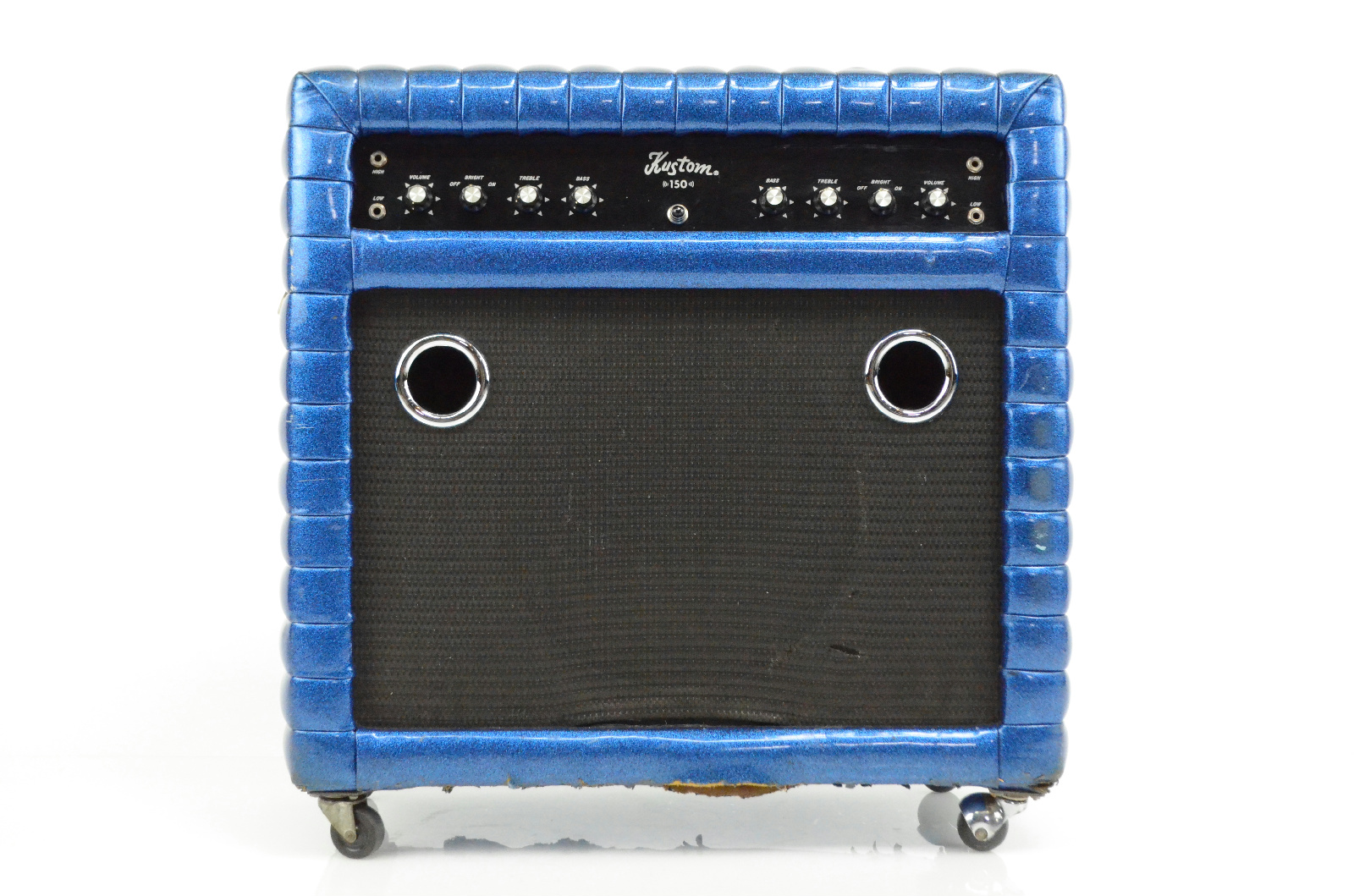 """Kustom 150 Blue Sparkle Tuck N Roll 1x12"""" Combo Amplifier Amp K150 K  #32434"""