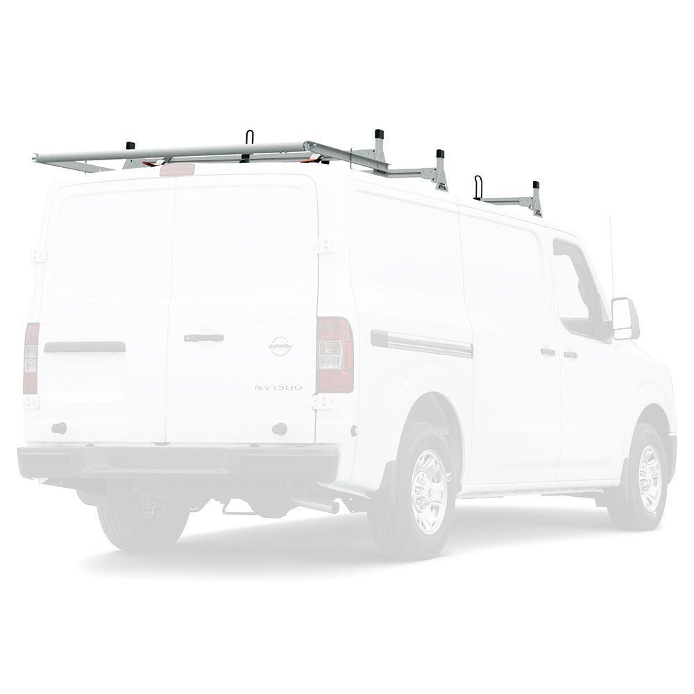 All Aluminum 2 Support Ladder Rack White for 2008 /& Newer Ford E-Series Van