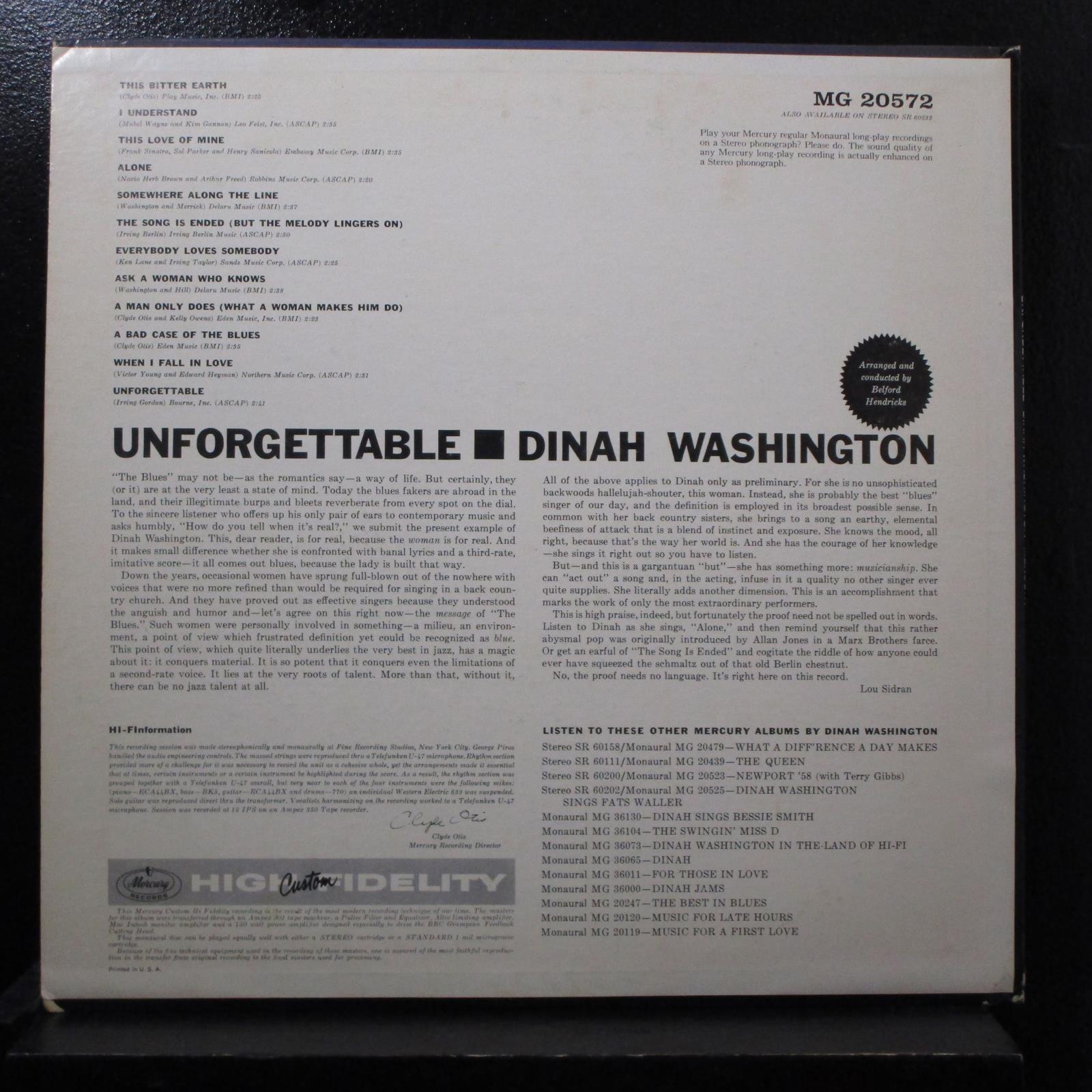 Dinah Washington Unforgettable Lp Mint Mg 20572 Mono