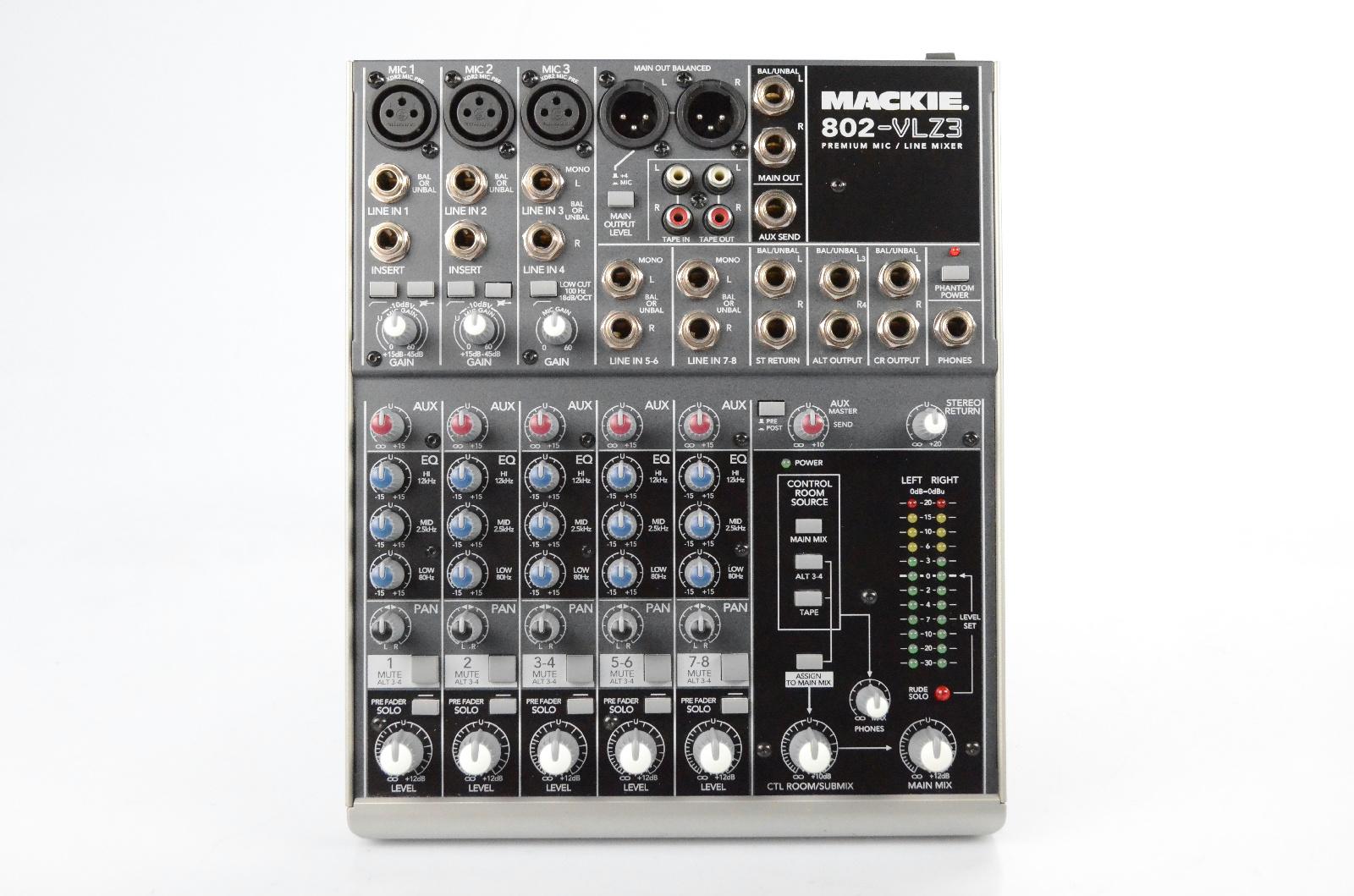 """Mackie 802-VLZ3 8-Channel Mixer w/ PSU & 4 Extra XLR 1/4"""" 1/8"""" Cables #32707"""