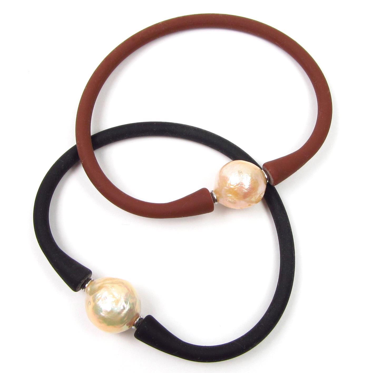 "7.5/"" Genuine Baroque Tahitian Black Pearl Stretchable /& Flexible Bangle Bracelet"