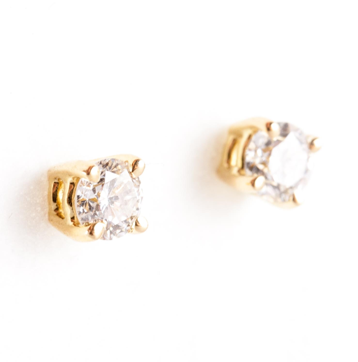 18k Yellow Gold Round Cut Diamond Solitaire Stud Earrings 30ctw