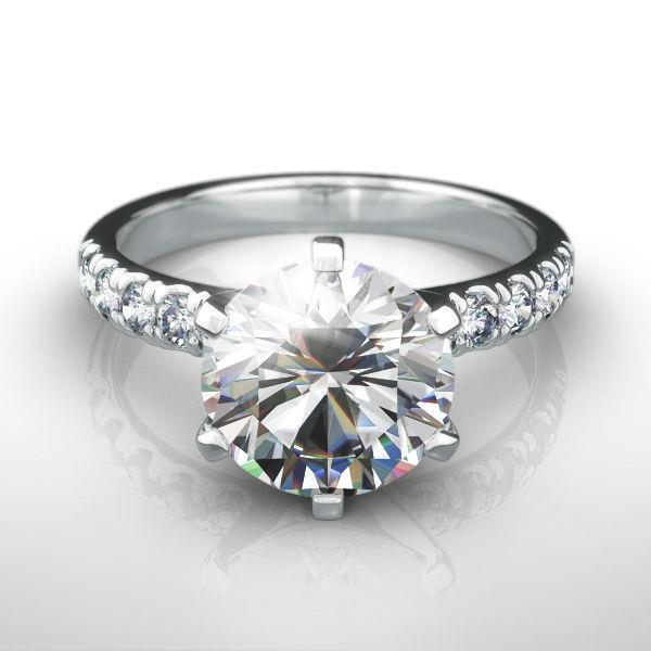 NATURAL DIAMOND RING ROUND 2.25 CARATS VVS1 G 18K WHITE