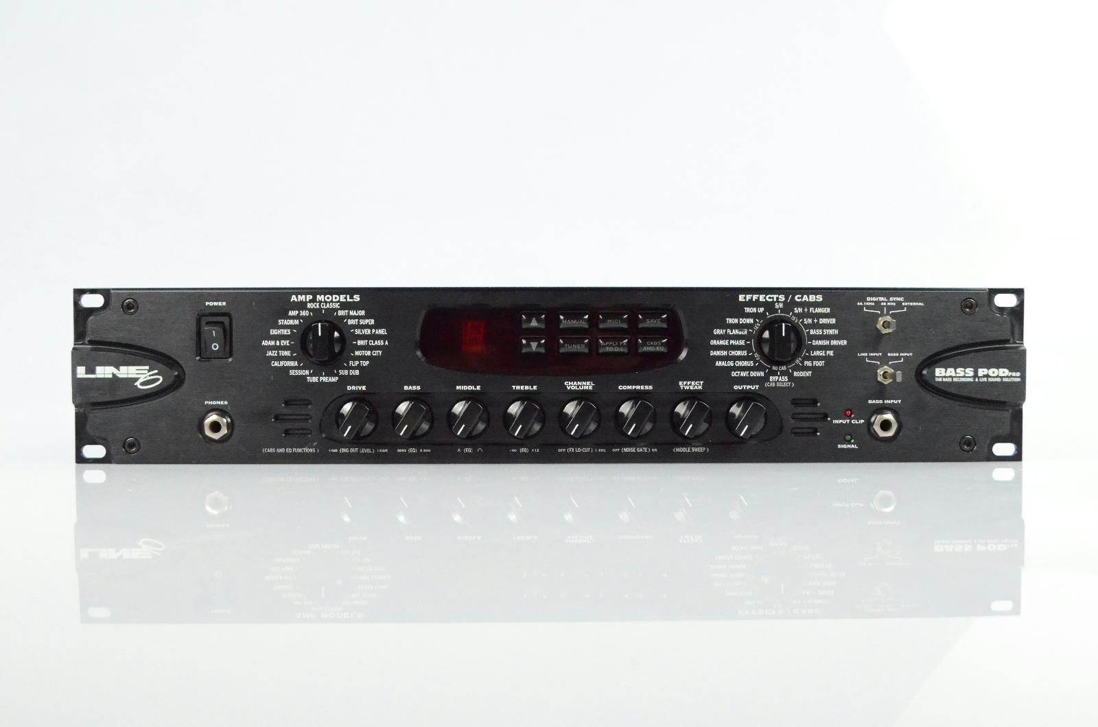 Line 6 Bass Pod Pro Bass Guitar Effects Rack Processor 2U DI AES EBU MIDI #33107