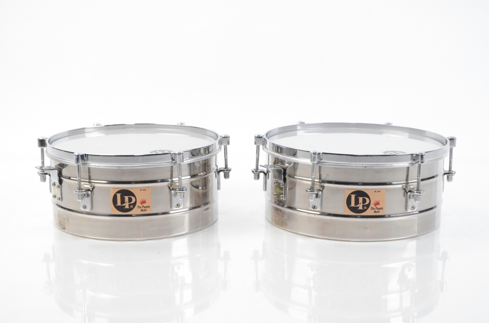 """LP Tito Puente 14"""" & 15"""" Stainless Steel Timbales Drums Percussion #32984"""