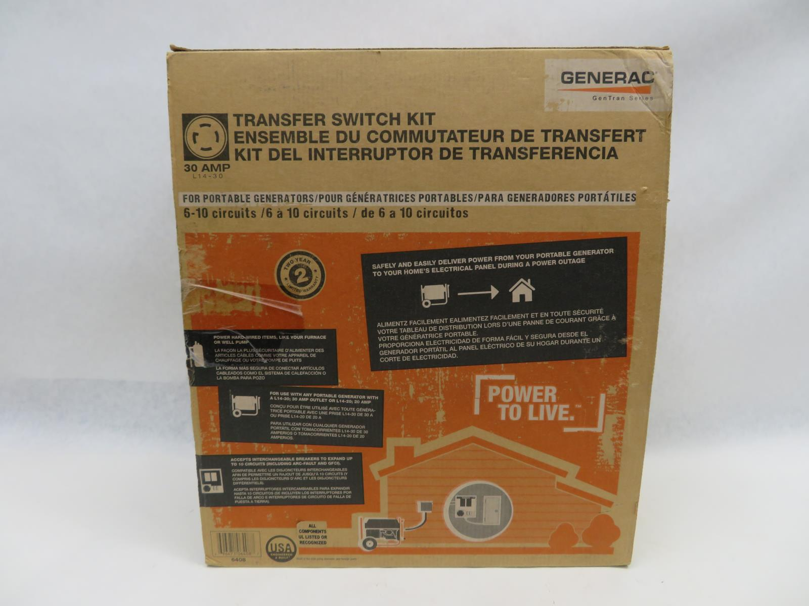 Generac 6408 30 Amp 6 10 Circuit Indoor Manual Transfer Switch Kit Wiring Diagram Gentran Problem With Your Order Please Do Not Leave Negative Neutral Feedback Or Open A Case Before Contacting Us Allow The Chance To Fix