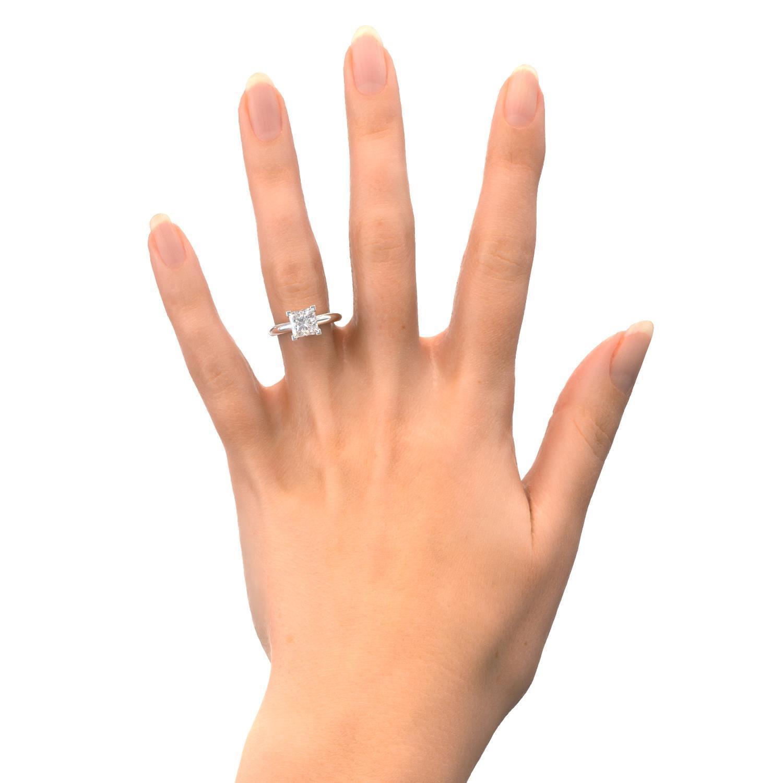 3 Carat E Vs1 Princess Cut Diamond Solitaire Engagement Ring 14k White Gold Ebay