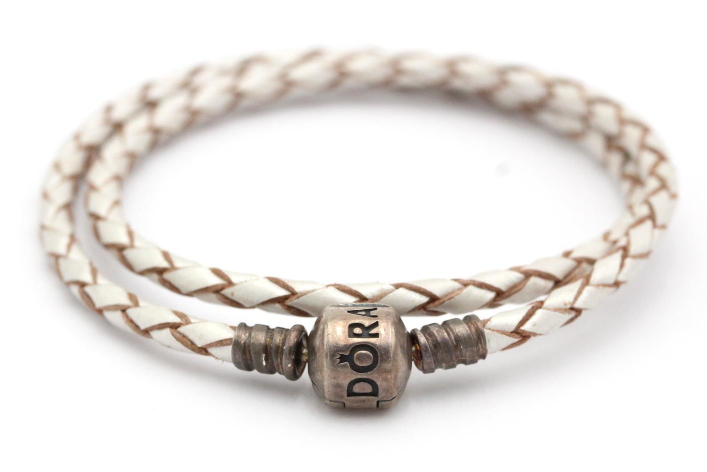 Pandora 590705cpl D Sterling Double Braided Champagne Leather Bracelet New