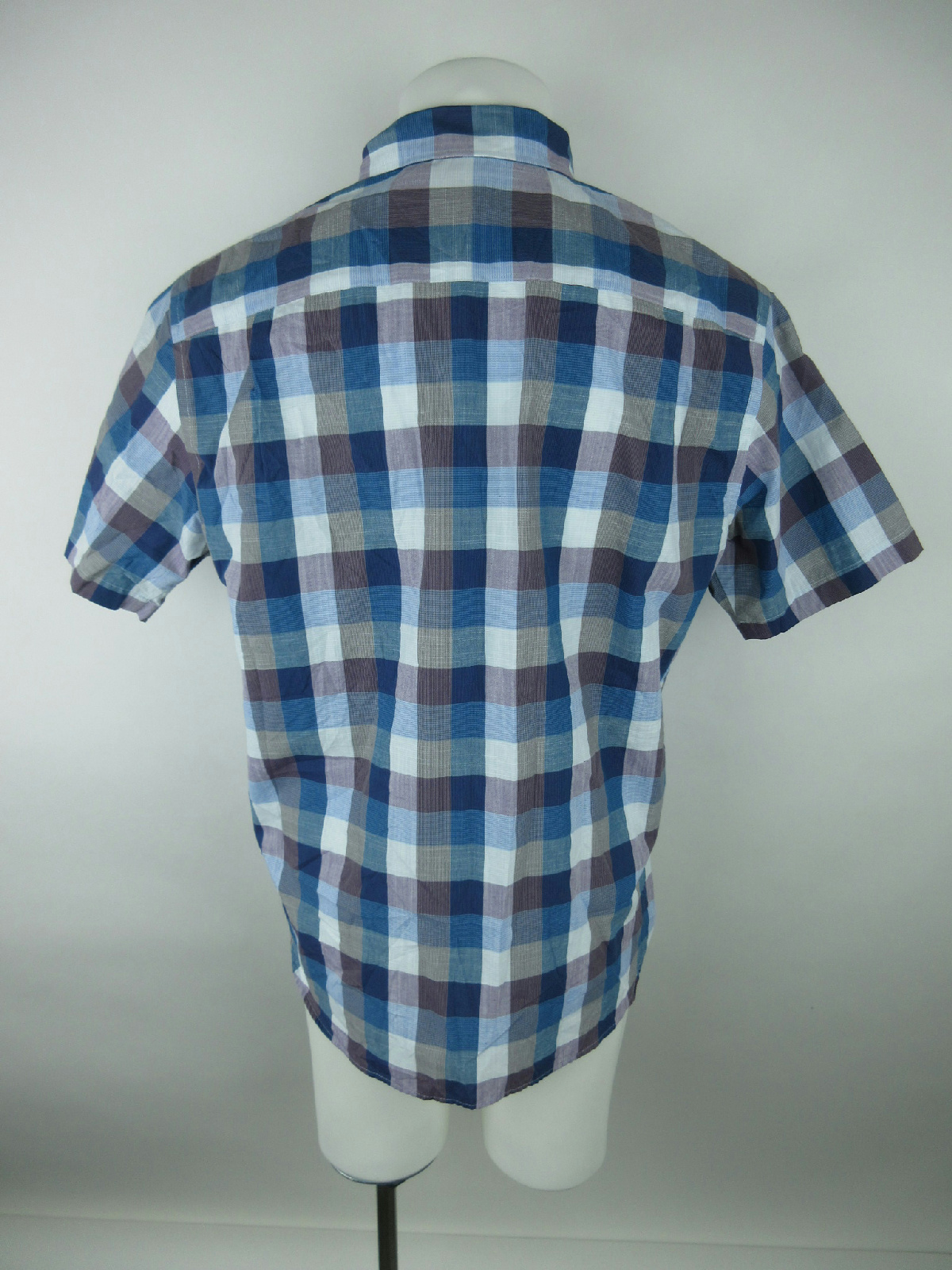 Van Heusen Men Sz Xl Cotton Slim Fit Plaid Short Sleeve Blue Button