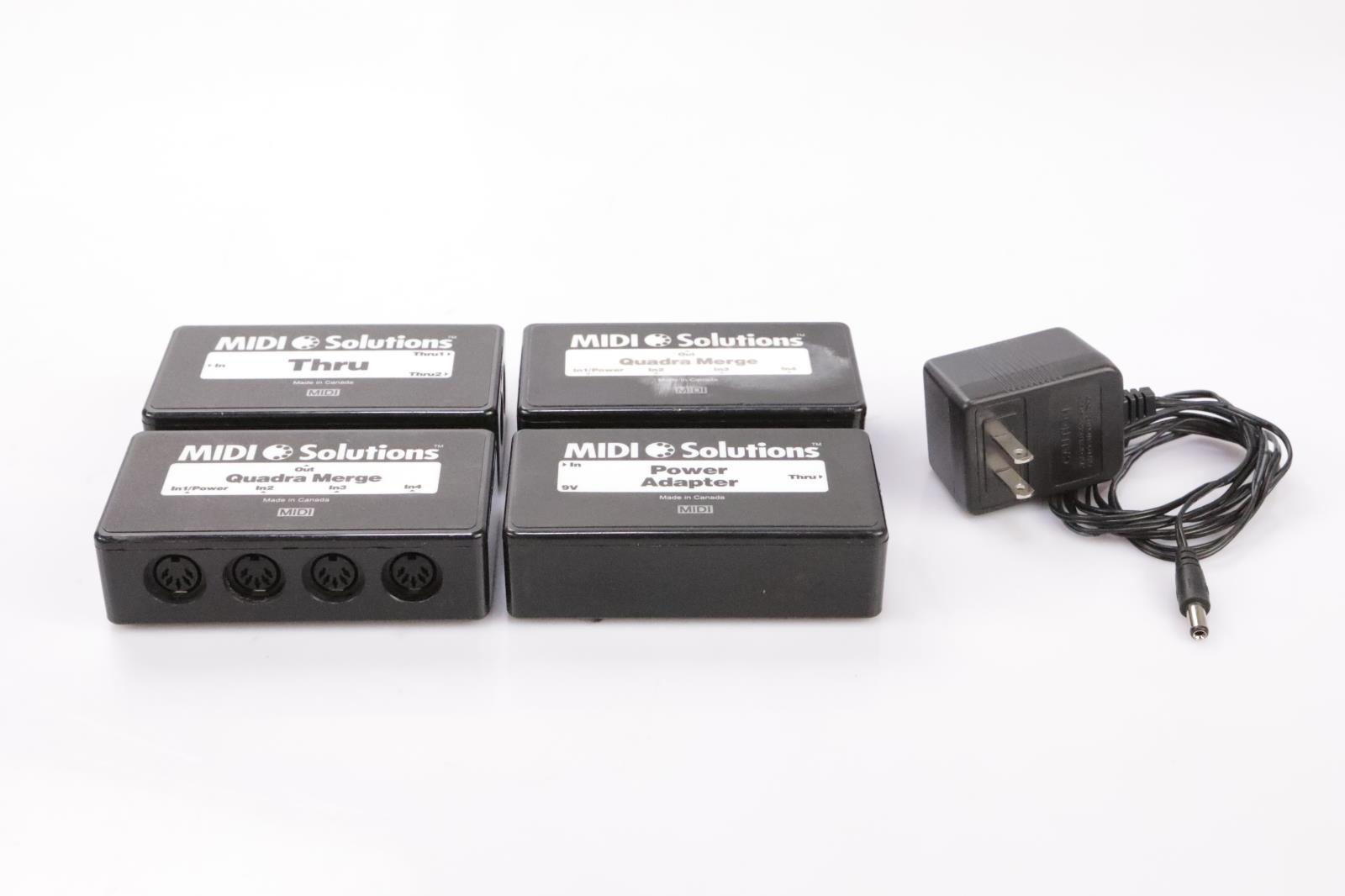 4 MIDI Solutions Quadra Merge Thru Power Adapter Interface Boxes #34685